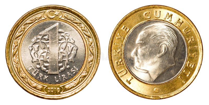 One Turkish lira coin stock photography