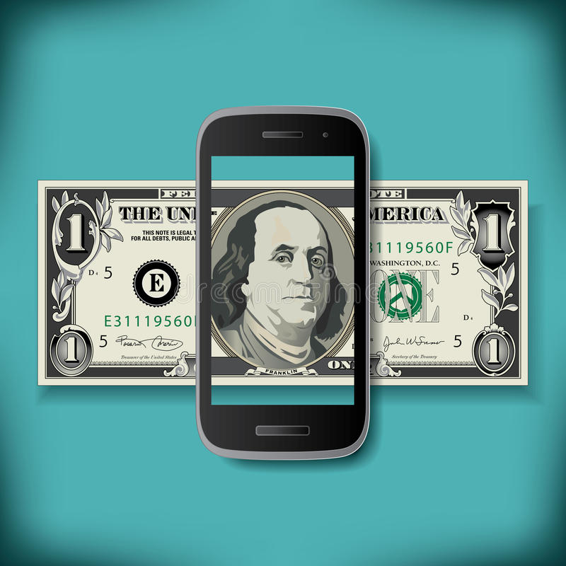 A one turns into one hundred. With this smartphone stock illustration