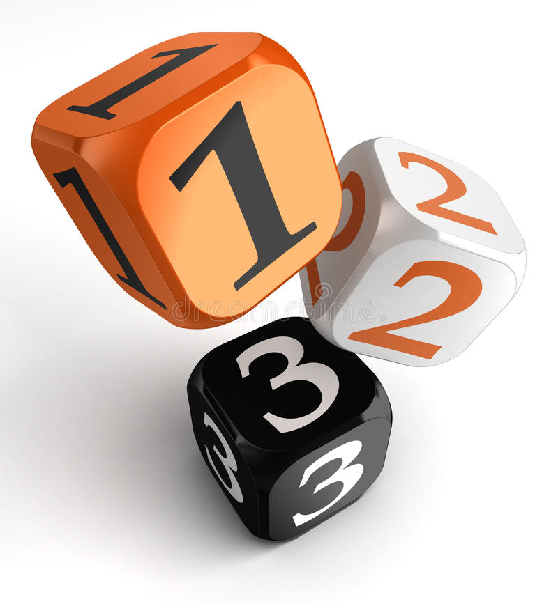 Free One, Two And Three Numbers On Orange Black Dice Blocks Stock Photos - 30357123