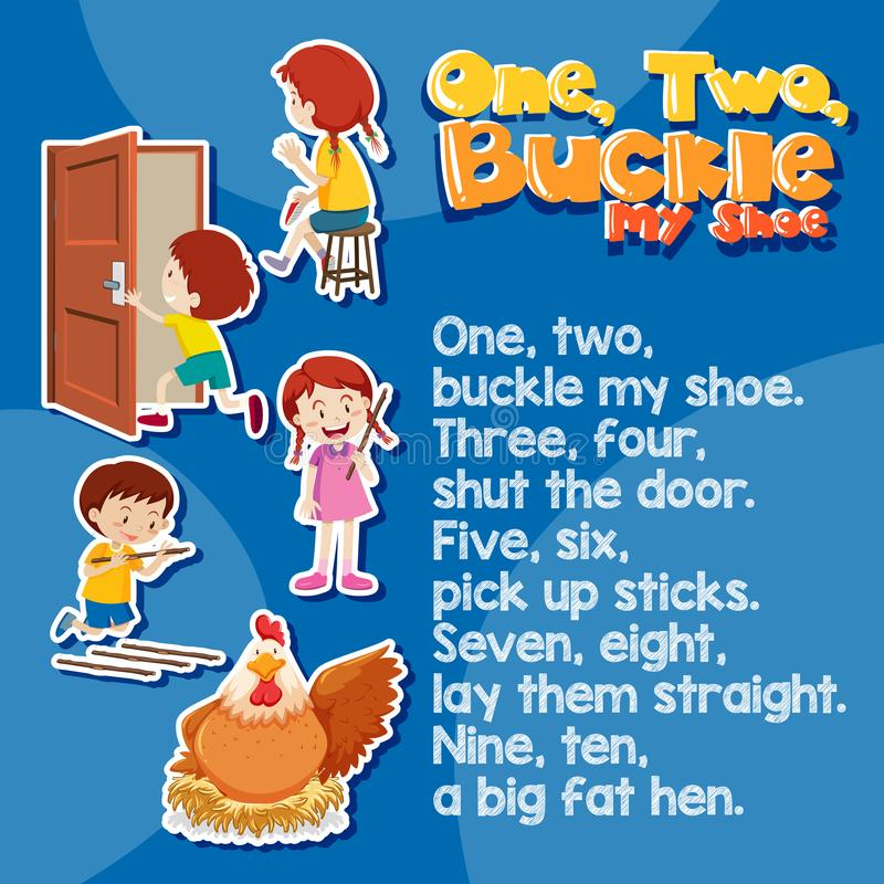 One two buckle my shoes song vector illustration