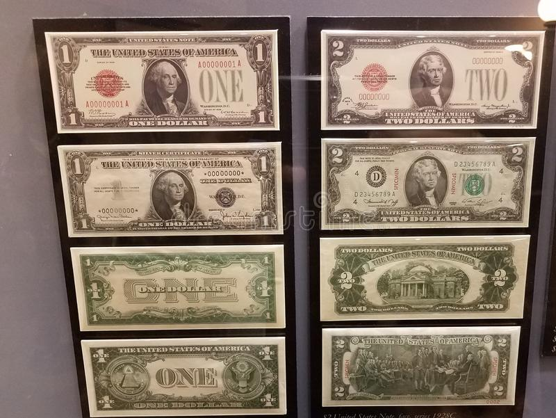 One and two dollar bills from the United States of America royalty free stock images