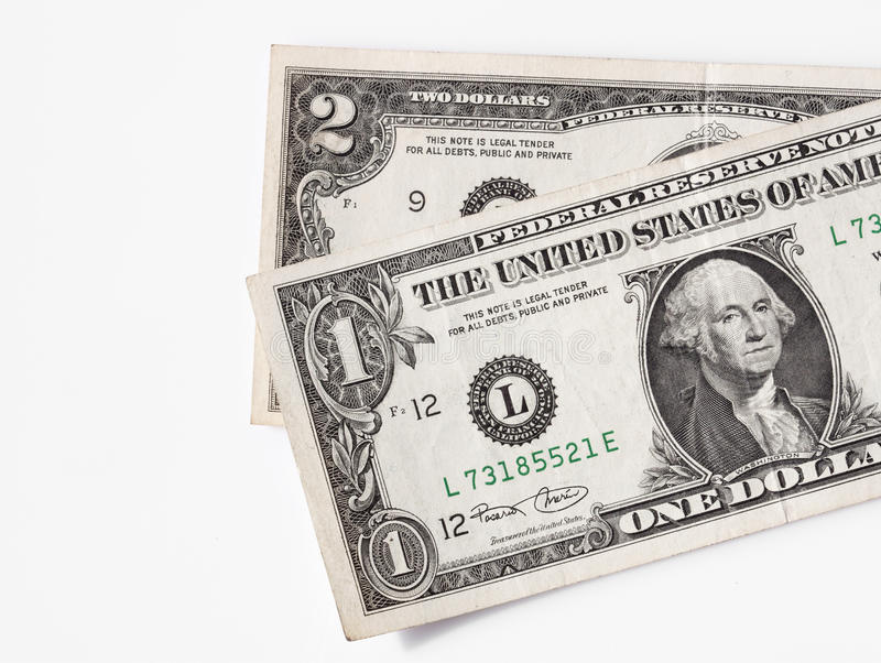 One and two dollars bills - RAW format