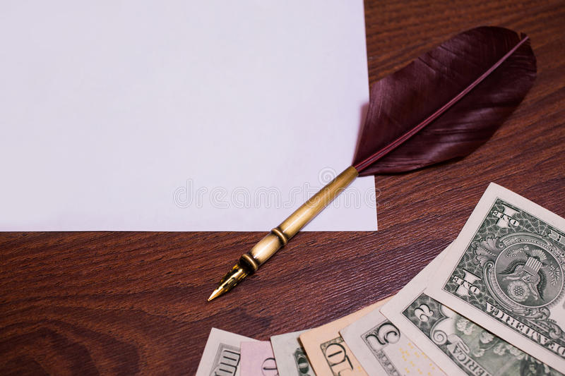 One, two, five, ten, twenty, fifty and one hundred dollar bills stock photo