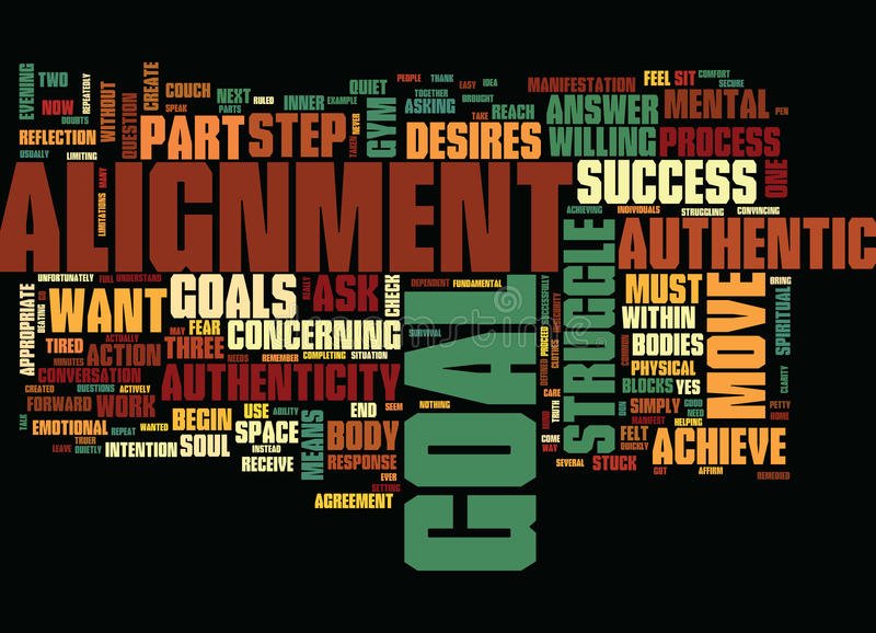 The One Two Punch For Success Authenticity And Alignment Text Background Word Cloud Concept royalty free illustration