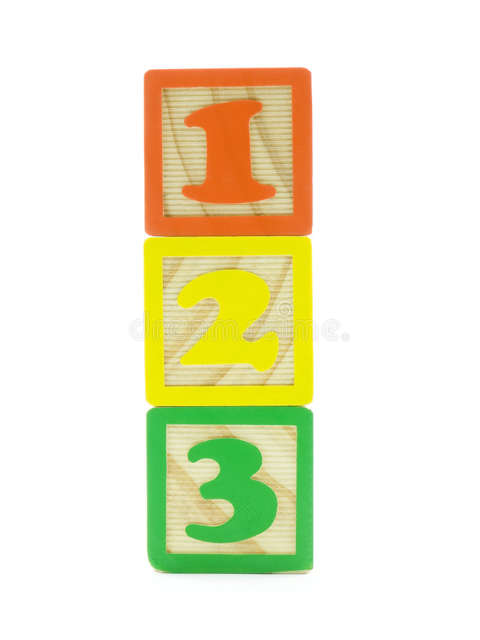 One, Two, Three. One, two, and three on wood toy blocks isolated on white royalty free stock images