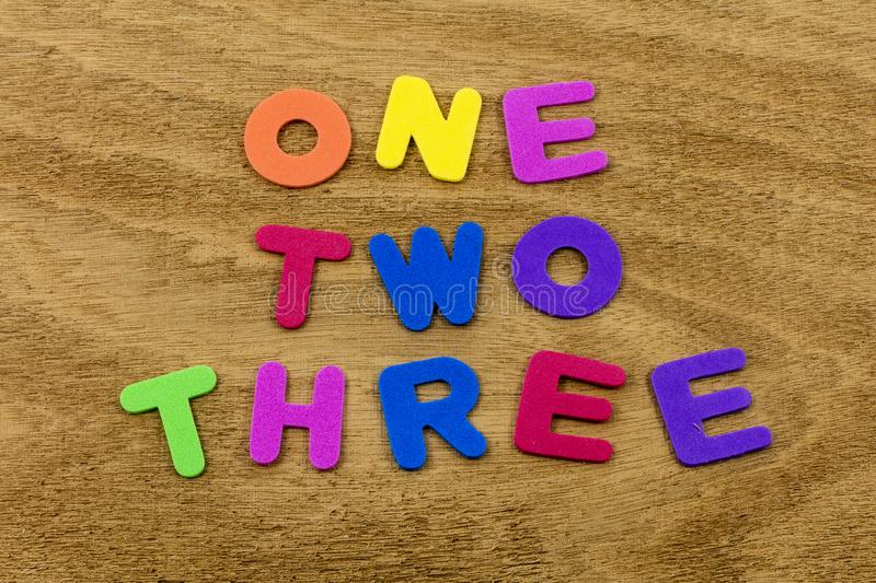 One two three 123 alphabet abc numbers foam toy royalty free stock image