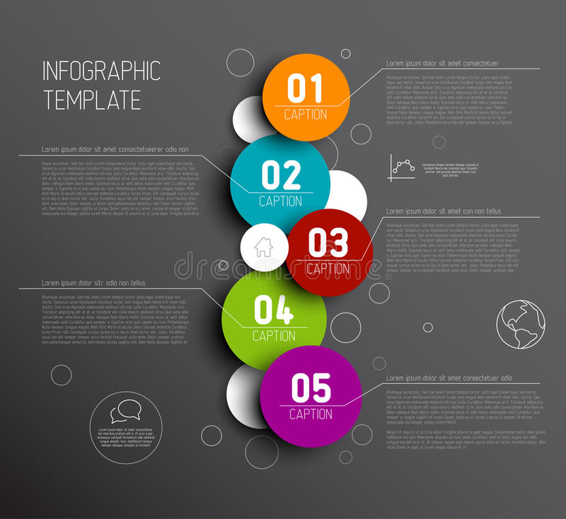 One two three four five - vector progress icons for five steps royalty free illustration