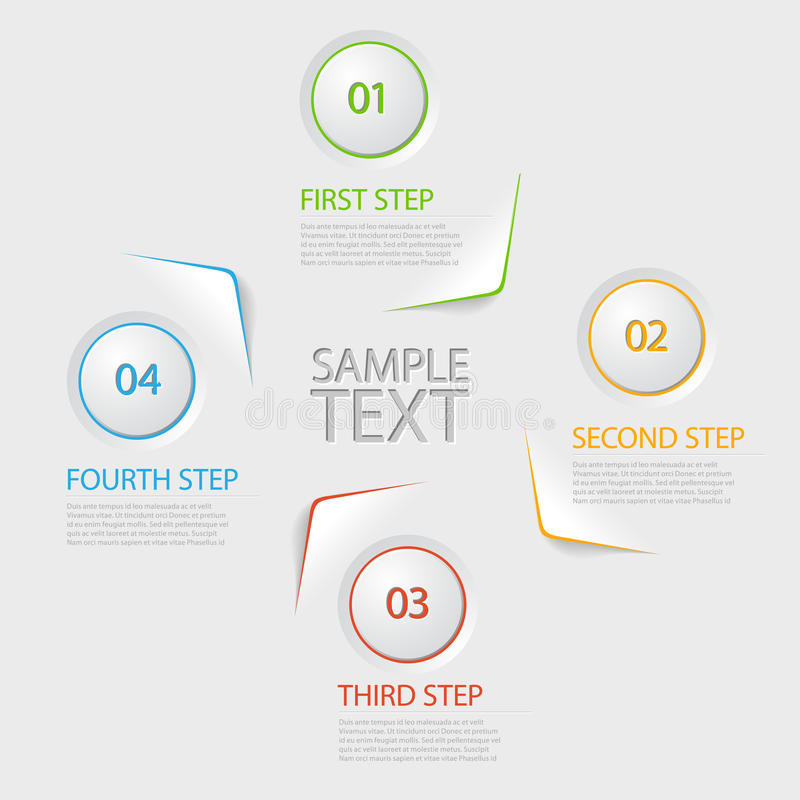 One two three four - flat vector progress icons for four steps royalty free illustration