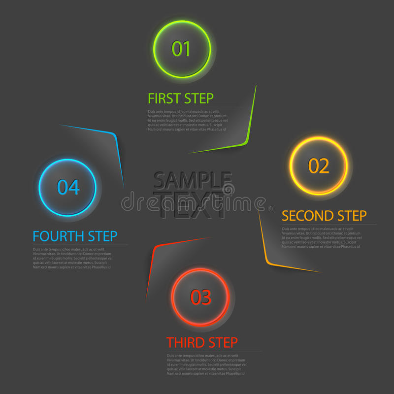 One two three four - flat vector progress icons for four steps stock illustration