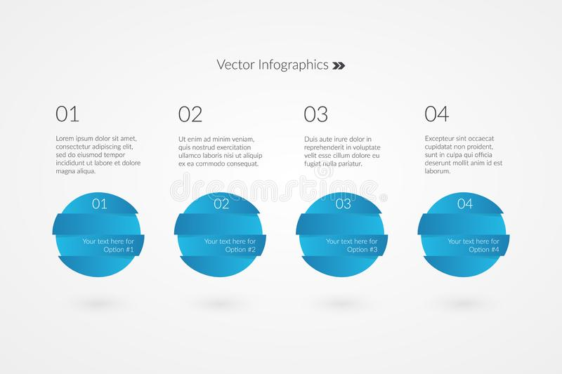 One two three four option vector infographics. 1 2 3 4 Sample symbols. Ð¡ircle icons for marketing, business, report, web, vector illustration
