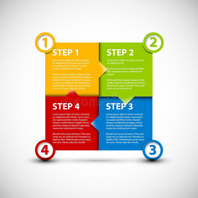 Free One Two Three Four - Vector Paper Steps Royalty Free Stock Image - 26734636