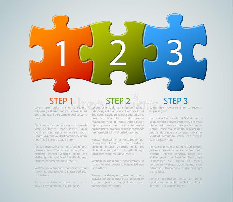 One two three - vector puzzle pieces with numbers vector illustration