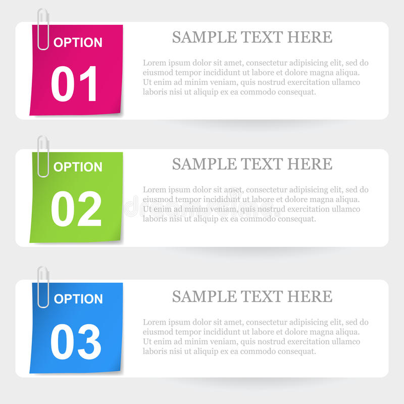 One two tree stapled note options vector illustration