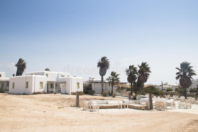 Typical guesthouse on Antiparos, Greece stock images