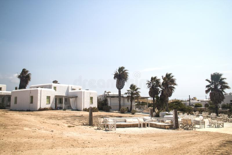 Typical guesthouse on Antiparos, Greece royalty free stock photos