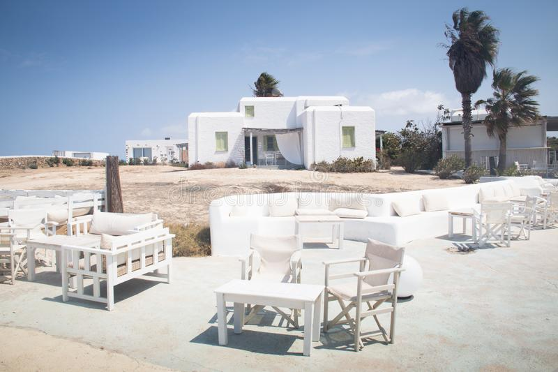 Typical guesthouse on Antiparos, Greece royalty free stock images