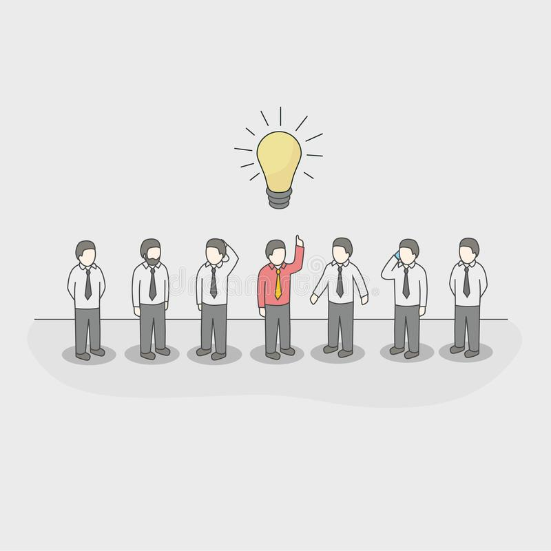 One unique businessman with light bulb of idea in a crowd. royalty free illustration