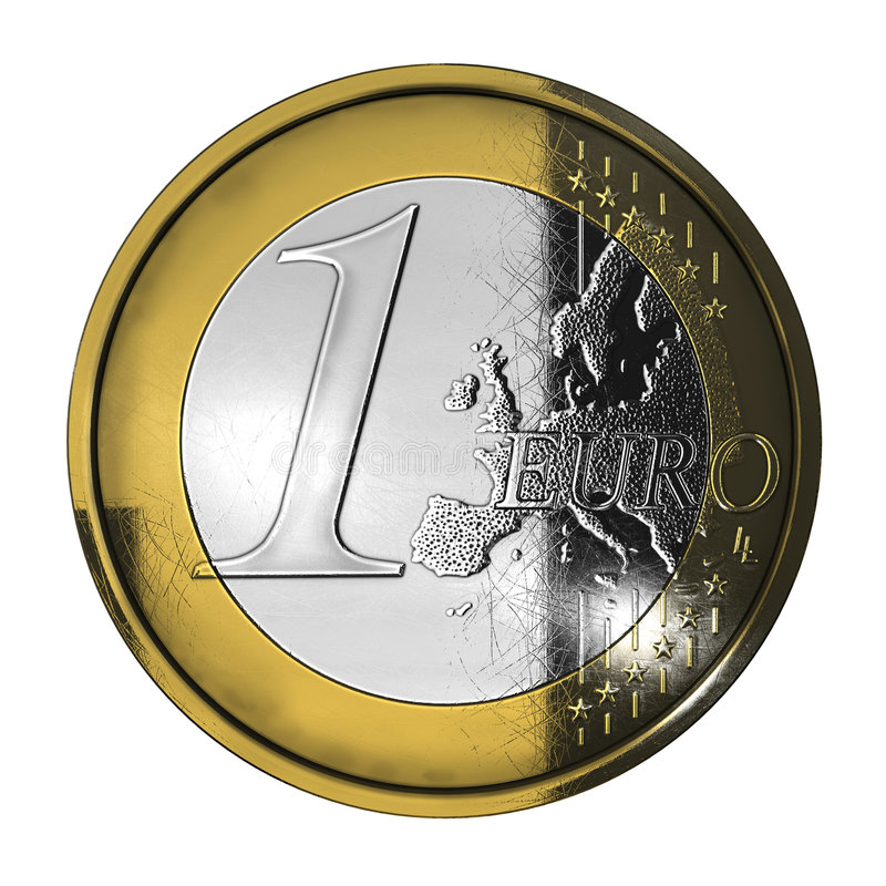 Download One used euro coin stock illustration. Illustration of cash - 9148646