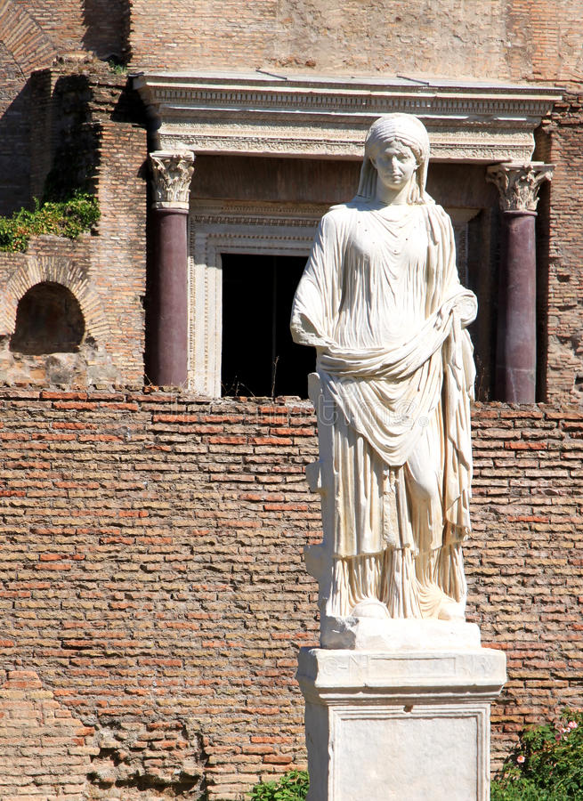 One of the vestal virgins in Roman Forum, Rome, Italy royalty free stock image