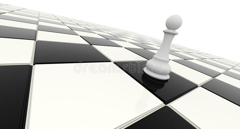 One victory. On chessboard rendered stock illustration