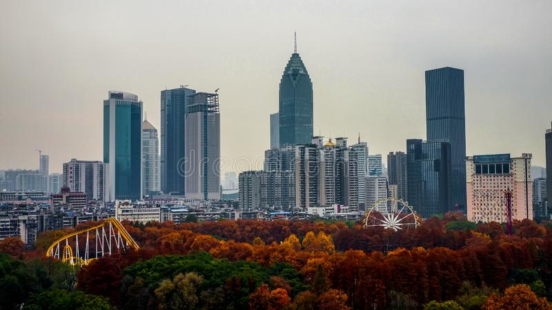View of the Wuhan city, Hankou district royalty free stock photography