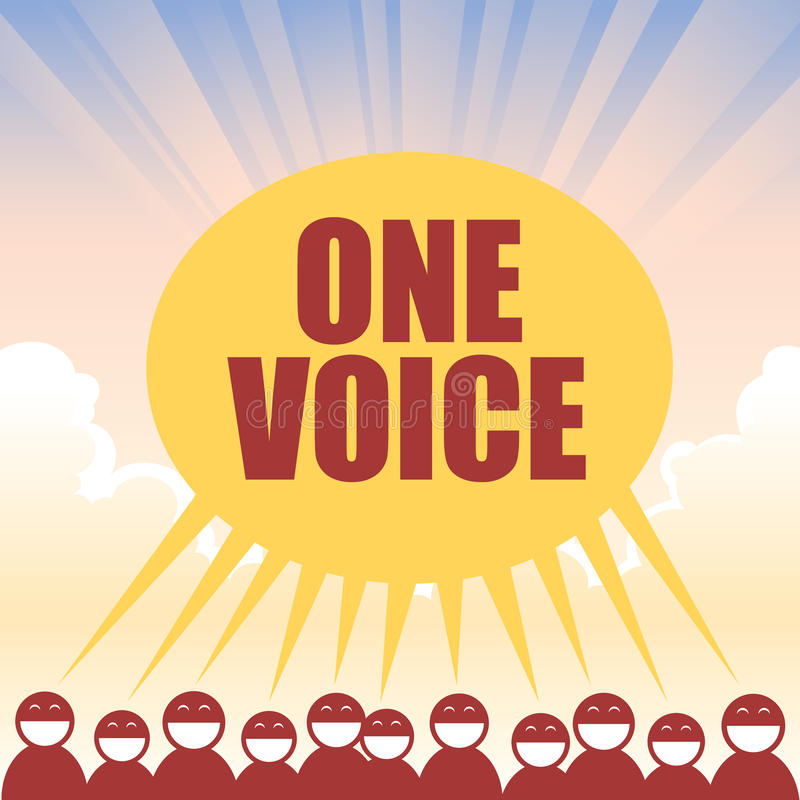 One Voice. Several figures declaring one voice in unison royalty free illustration