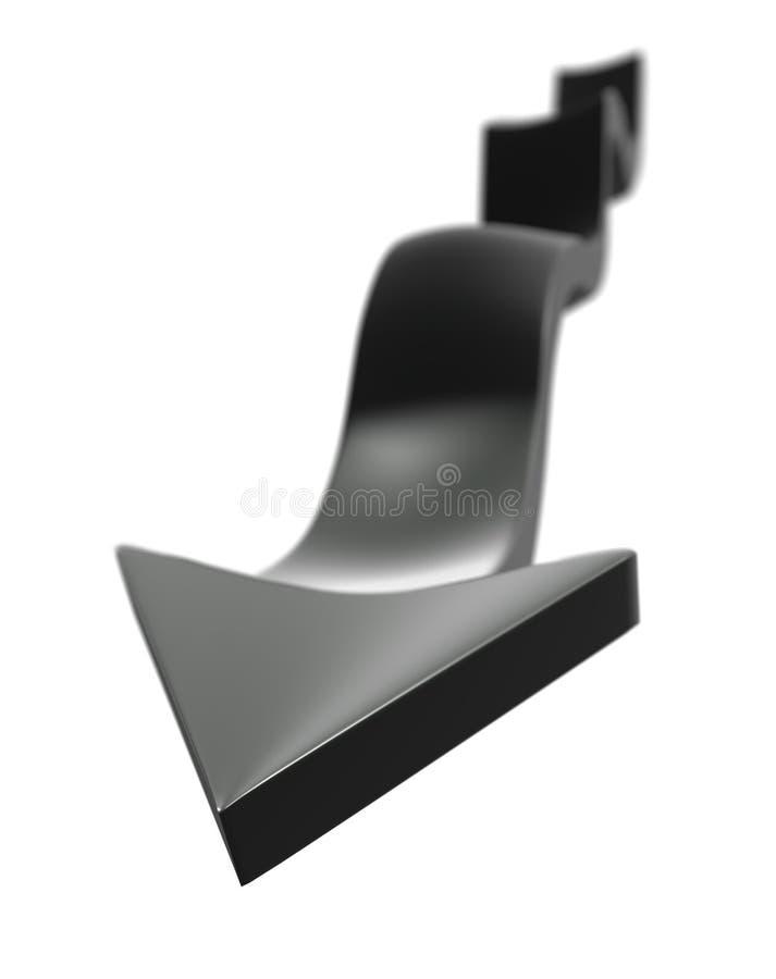 Download One waving black arrow stock illustration. Illustration of render - 71161660