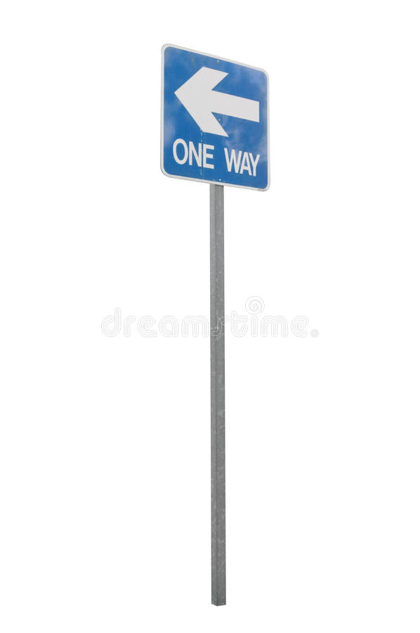 One way left sign and arrow on blue color royalty free stock photos