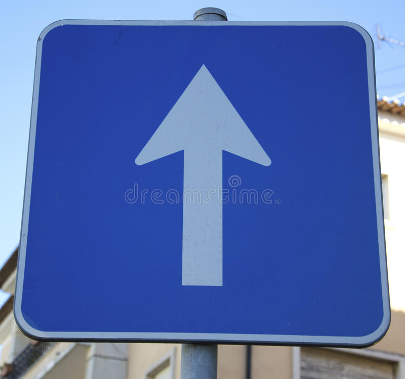 One way road sign. A close-up of a one way road sign stock images