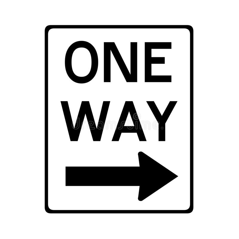 One way road sign in USA. Illustration royalty free illustration