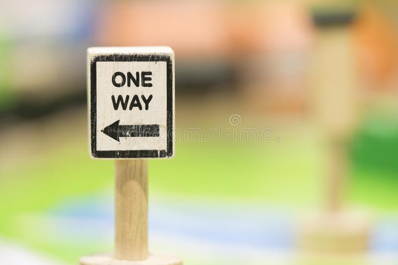 One way sigh - Toy Set Street Signs. Play set Educational toys for preschool indoor playground selective focus royalty free stock photo