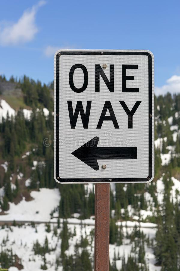 One Way Sign along Highway. One Way road sign along highway in Mt Rainier National Park Washington State royalty free stock photography