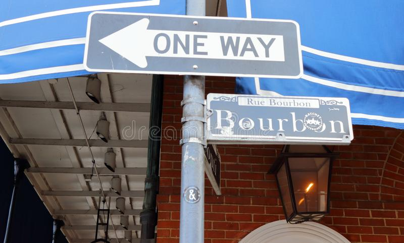 One way sign of Bourbon street in New Orleans, Louisiana royalty free stock photos
