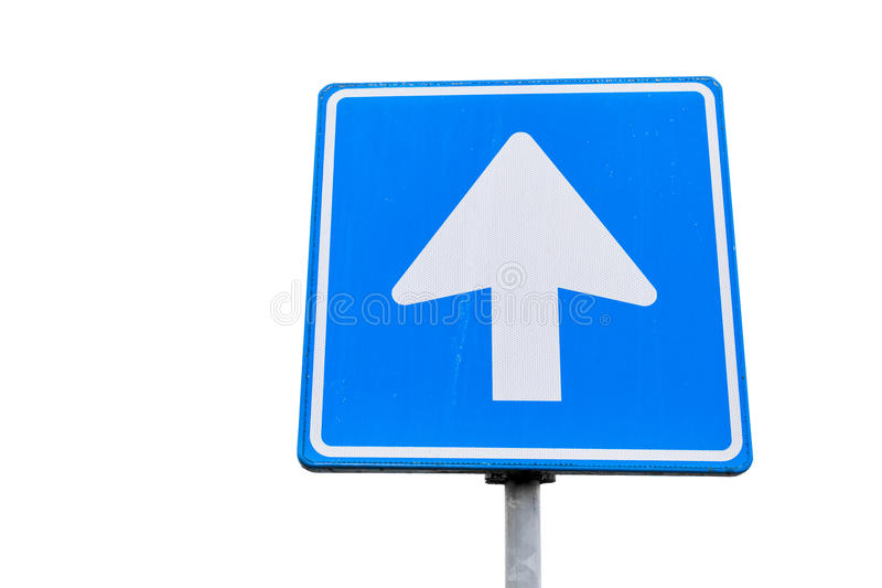 One way street, blue square road sign with arrow. Isolated on white background, close up photo stock photo