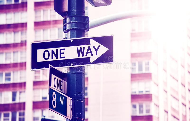 One way street sign, New York City. stock image