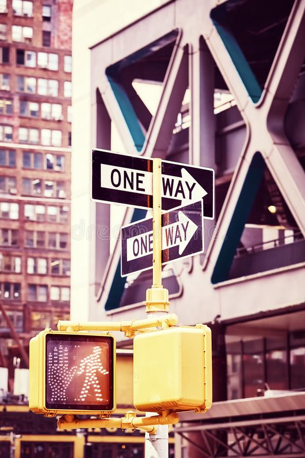 One way street signs, New York City. One way street signs, color stylized picture, New York City, USA royalty free stock photo