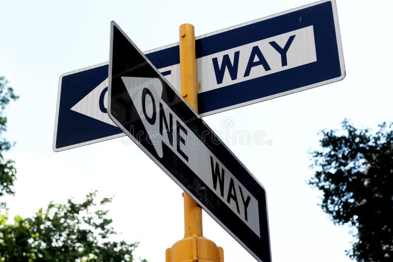 One Way Street stock photo. Image of crossroads, post ...One Way Street Intersection