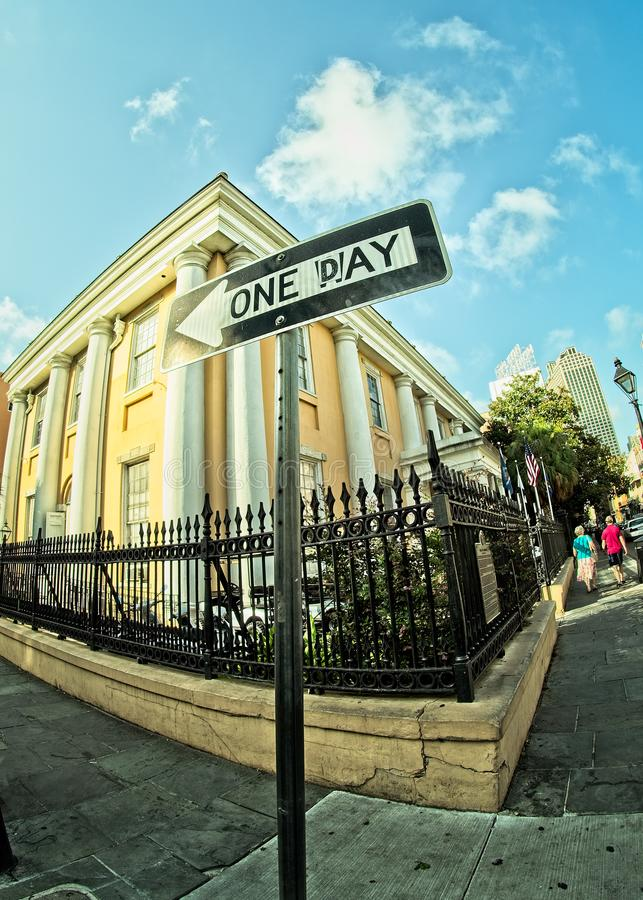 One Way to One Day Sign In New Orleans royalty free stock photo