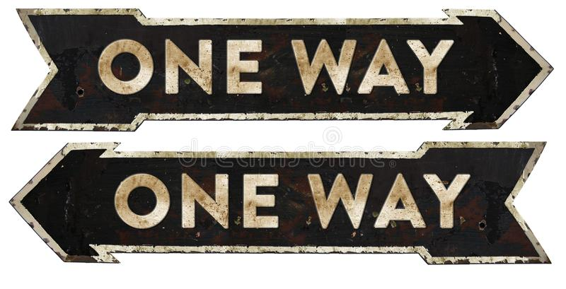 One Way Traffic Sign Vintage royalty free stock image