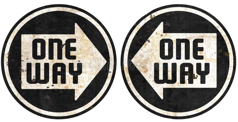 One Way this way metal street signs grunge arrow vector illustration
