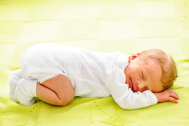 One week old newborn baby royalty free stock image