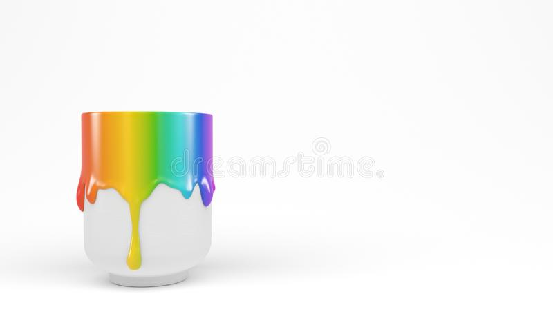 One white сup with spreading thick rainbow color paint gouache on a white background. Banner with copy space. 3D rendering. One white сup with spreading royalty free illustration