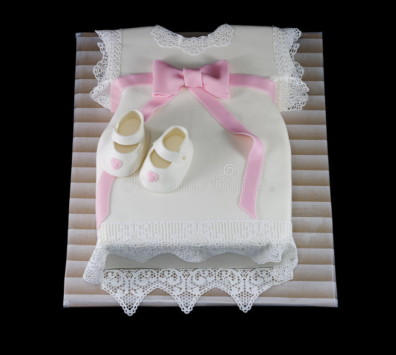 One White Cake In The Shape Of A Baby Dress Stock Image Image Of