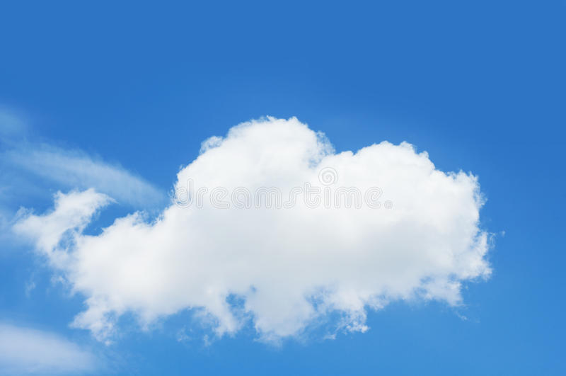 One white cloud in blue sky. stock image