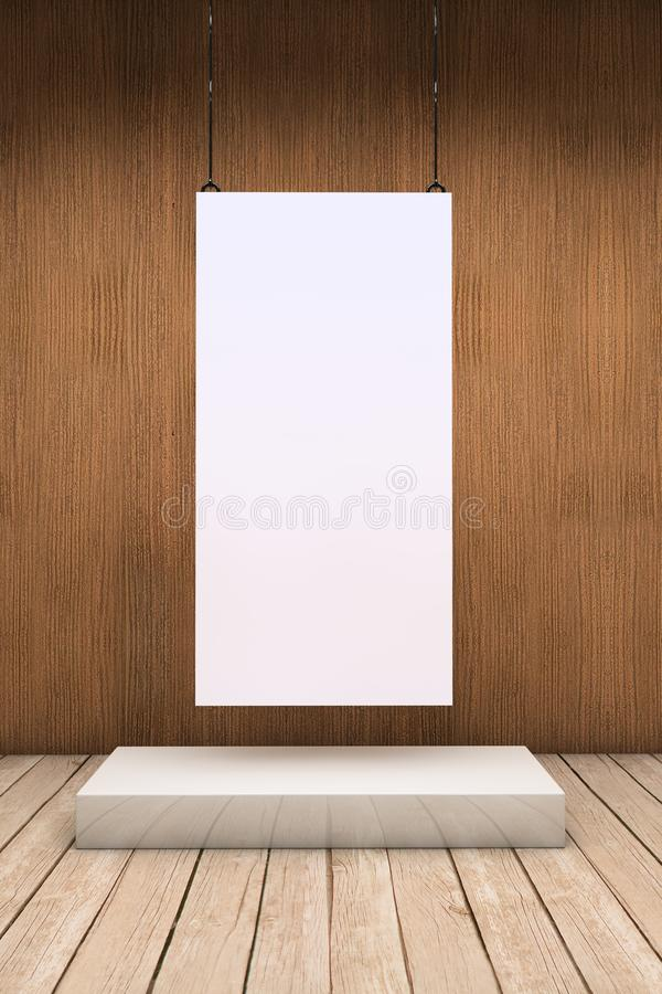 One white exhibitor. White empty exhibitor board hang in a room with beautiful light royalty free illustration