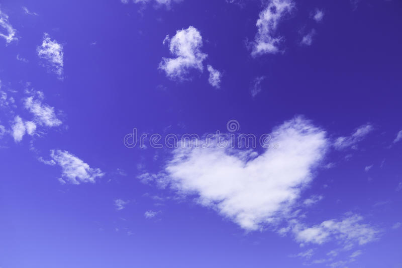 one white heart cloud on sky stock image