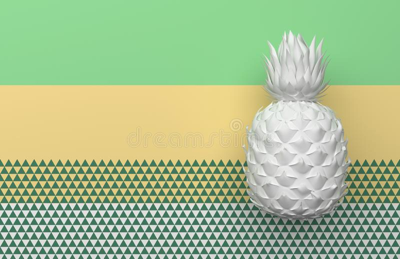 One white pineapple isolated on a background with a pale green, yellow and white stripe and triangles. Tropical exotic fruit with vector illustration