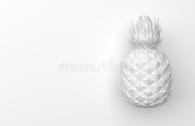 One white pineapple isolated on a white background with space for text. Tropical exotic fruit. Front view. 3D rendering. stock illustration