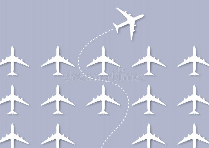 One white plane changing direction ahead of the others, business innovation leadership think different new idea concept. One white plane changing direction ahead royalty free illustration