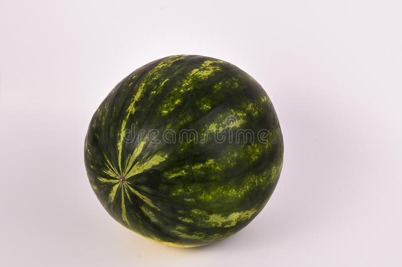 One whole sweet organic watermelon on solid white background stock image